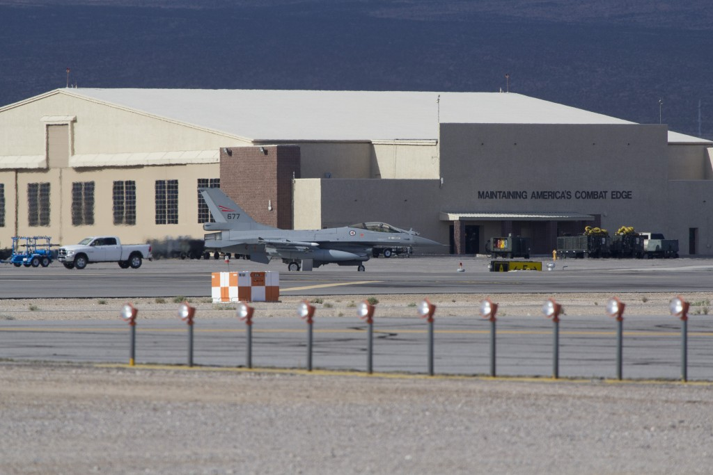 F-16 jagerfly deltar i øvelsen  Red Flag ved Nellis Air Force Base nord for Las Vegas / F-16 fighter during the exercise Red Flag in USA. Foto: LUFTFORSVARET