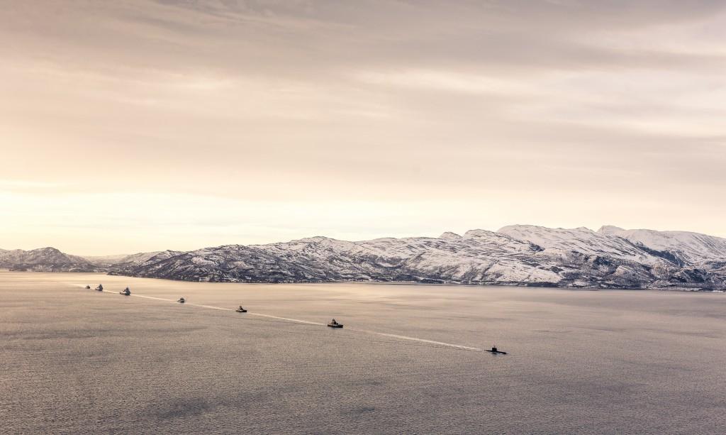 Marinen i flåteøvelse i Altafjorden under Joint Viking-øvelsen mars 2015. Foto: PETTER BRENNI GULBRANDSEN/FORSVARET