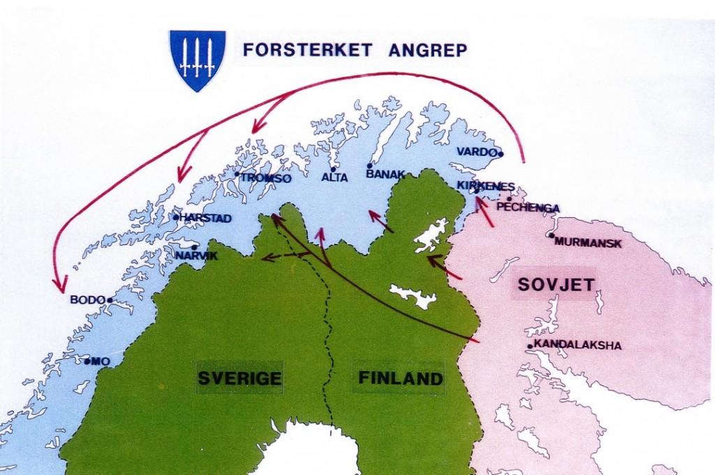 SKREKKSCENARIET: Det er slik norske forsvarsplanleggere på begynnelsen av 1980-tallet så for seg at et sovjetisk militært angrep mot Norge kunne se ut. Faksimile: FORSVARET/ALDRIMER.NO