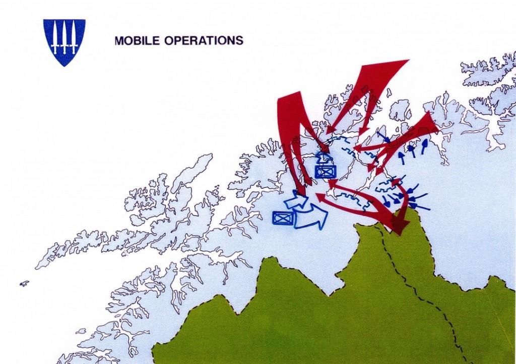 HÆRENS BAKGÅRD: Slik forestilte norske forsvarsplanleggere seg at et massivt sovjetisk angrep mot Hæren i Indre Troms kunne fortone seg. Et slikt angrep eller muligheten for dette, gjorde det vanskelig å yte vesentlig støtte til Finnmark. Faksimile: FORSVARET/ALDRIMER.NO