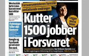 AVSLØRER KUTT: Dagens næringsliv omtaler 21. april store kuttforslag i Forsvaret
