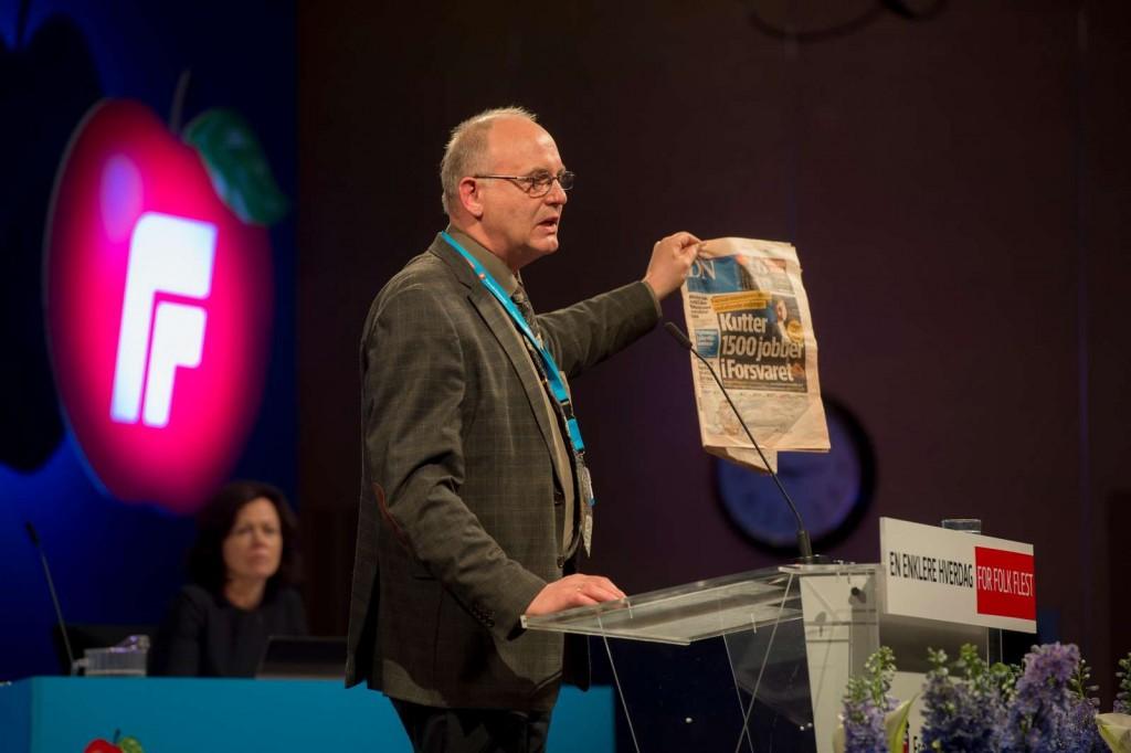 BEKYMRET: Trond Røed fra Buskerud Frp på landsmøtet lørdag. Foto: FRP