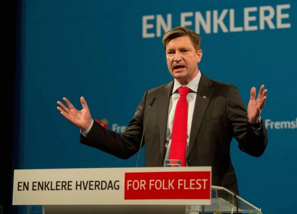 KLAR TALE: Christian Tybring-Gjedde på Frps landsmøte lørdag. Foto: FRP