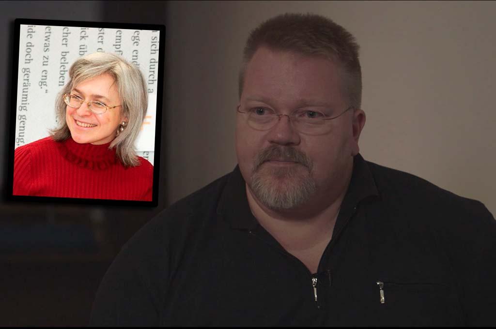 DRØY PÅSTAND: Johan Bäckman hevder vestlige medier kan ha stått bak drapet på Anna Politkovskaja (innfelt). Foto: ALDRIMER.NO/WIKIPEDIA