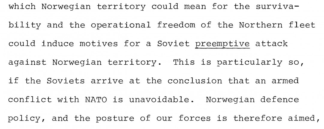 NATO-BRIEF: Frykten for et forhåndsangrep, et preemptive attack, fremgår av en NATO-brief datert 16. mai 1981. FAKSIMILE: ALDRIMER.NO