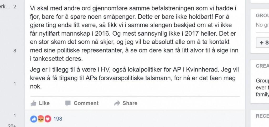 """FORBANNET: Geir Dolonen-Marthinussen er både politiker og HV-mann. Han vil ha opprør mot de reduserte bevilgningene til Heimevernet. FOTO: Skjermdump fra """"Styrk Heimevernet""""-sidene på Facebook."""