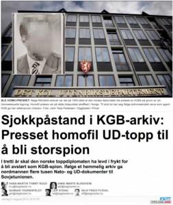 KGB-INTERESSE: Norske medier har hatt en rekke nyheter basert på frigjorte KGB-arkiver de siste årene. Den russiske ambassaden forstår ikke hvorfor norske journalister bruker tid på dette. Skjermdump: DAGBLADET.NO