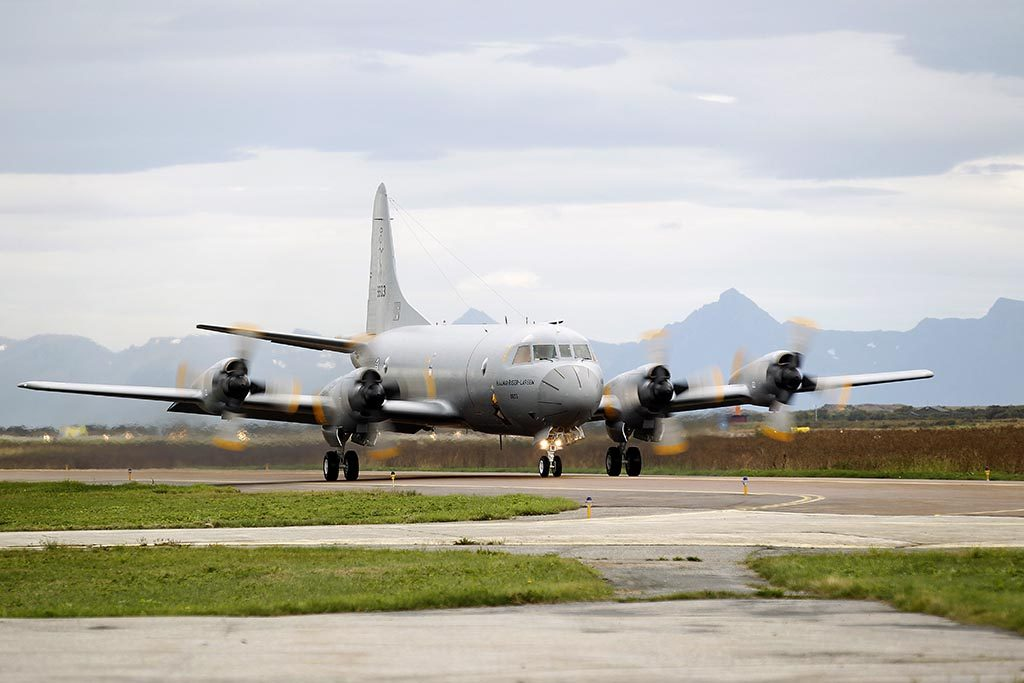 ANDØYA: Et Orion P-3N, Hjalmar Riiser-Larsen, fra 333-skvadronen etter landing på Andøya flystasjon. Foto: TORBJØRN KJOSVOLD/FORSVARETS MEDIESENTER