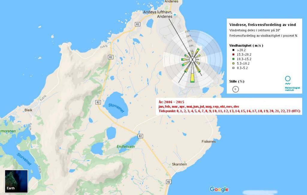 ANDØYA: Kartet viser vinddata for Andøya i perioden 2006–2015. Kilde: Meteorologisk institutt/eklima.no