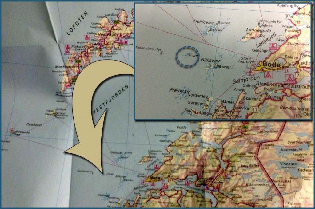 GIVÆR: Nesten-kollisjonen skjedde ved Givær vest for Bodø. Fiskerbåten kolliderte nesten med det som kan være en ubåt. Illustrasjon: RUNE S. ALEXANDERSEN/ALDRIMER.NO