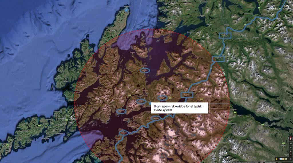 REKKEVIDDE: Kartet fra Forsvarsdepartementet viser at et luftvern stasjonert ved Evenes ikke har rekkevidde til å dekke Andøya. Skjermbilde: FORSVARSDEPARTEMENTET