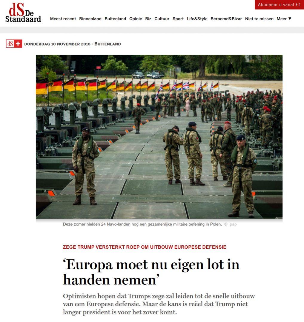 TA ANSVAR SELV: Nå må Europa sørge for sitt eget forsvar. Det er konklusjonen til den belgiske avisen De Standaard. Foto: SKJERMDUMP