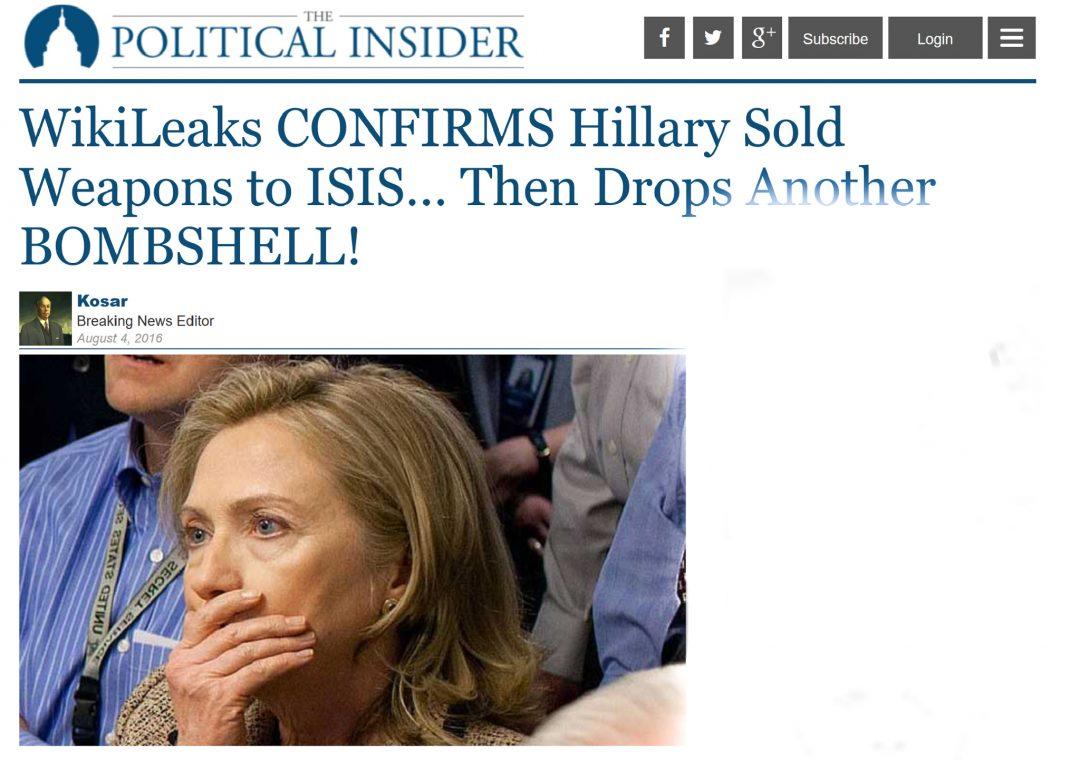 FALSKE NYHETER: Nei, Hillary Clinton har ikke solgt våpen til IS. Men det er fritt frem for dem som vil spre slik desinformasjon. Foto: SKJERMDUMP
