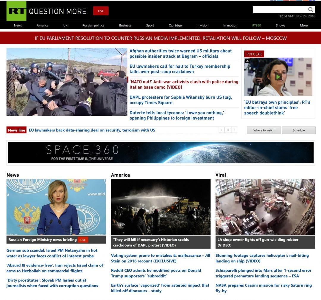 """VRANGFORESTILLINGER: Den russiske nettsiden RT.com karakteriserte resolusjonen til Europaparlamentet som en """"vrangforestilling"""". Foto: SKJERMDUMP/RT.COM"""
