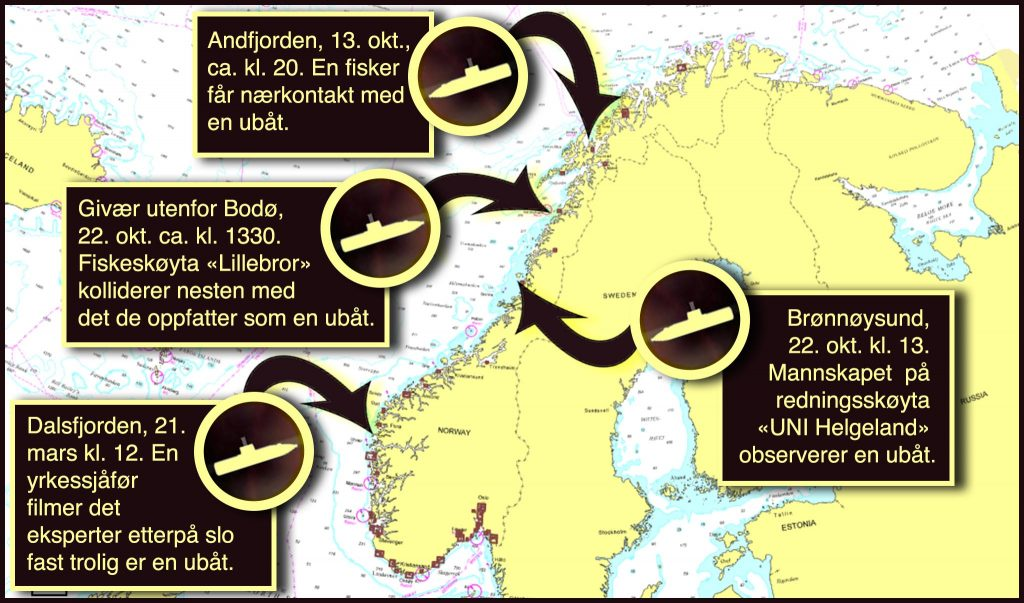 MULIGE UBÅTOBSERVASJONER: Kartet viser fire hendelser aldrimer.no har skrevet om det siste året. Illustrasjon: RUNE S. ALEXANDERSEN/ALDRIMER.NO