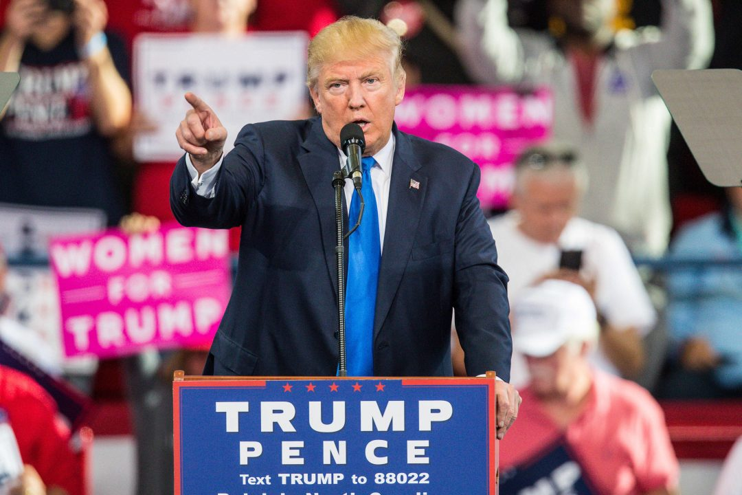 November 7, 2016 - Raleigh, North Carolina, U.S - Republican Presidential Candidate Donald J Trump holds a final campaign rally on the eve of the election at Dorton Arena in Raleigh, North Carolina.