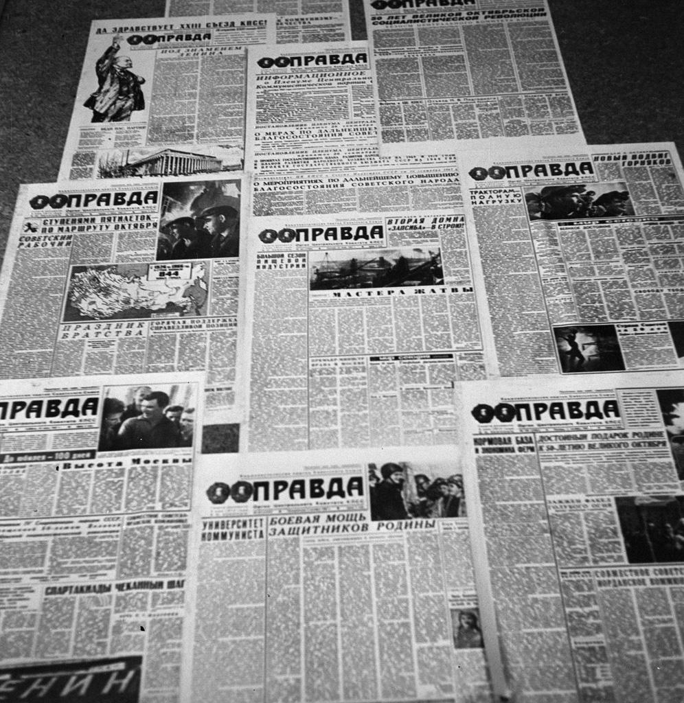 """PROPAGANDA: Den sovjetiske avisen """"Pravda"""" var lett gjenkjennelig propaganda. I Vesten var troverdigheten deretter. Dagens russiske propaganda er langt vanskeligere å gjenkjenne. Foto: RIA Novosti"""