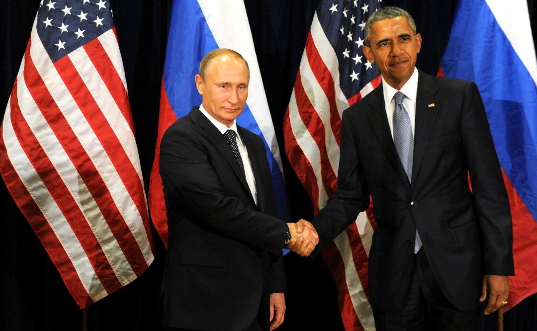 IKKE VENNER: Amerikanske etterretningsorganisasjoner mener det er overveiende sannsynlig at Russland står bak hacking og annen innblanding i det amerikanske presidentvalget. Her håndhilser Putin og Obama i september 2015. Foto: KREMLIN.RU