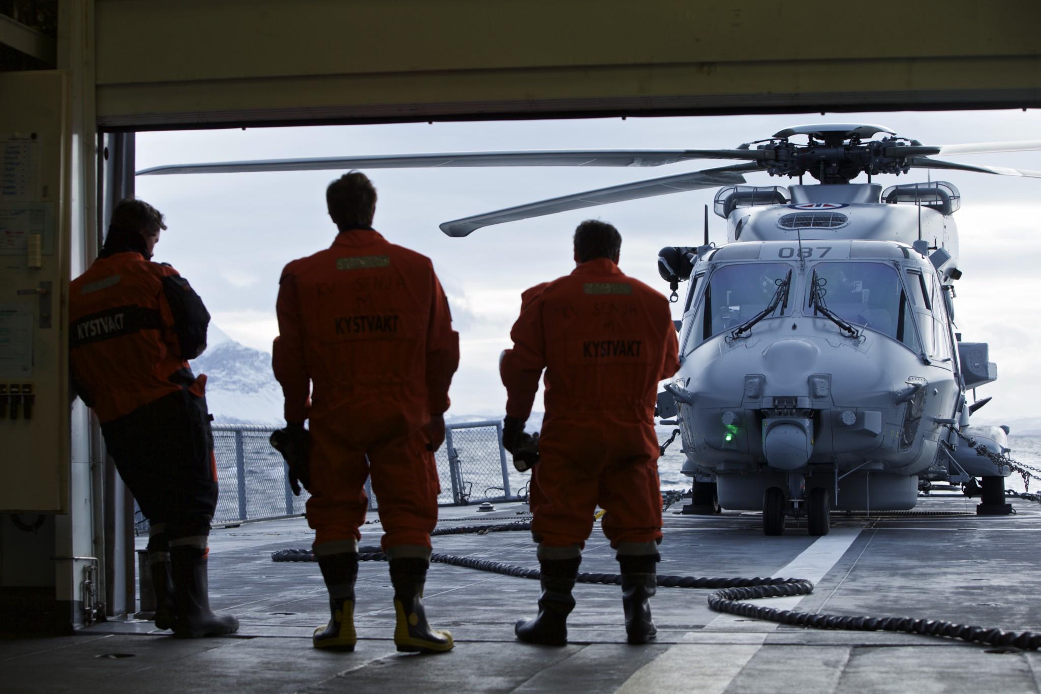 Et norsk NH-90 helikopter ombord på Kystvaktfartøyet KV Senja. Foto: TORGEIR HAUGAARD/FORSVARET