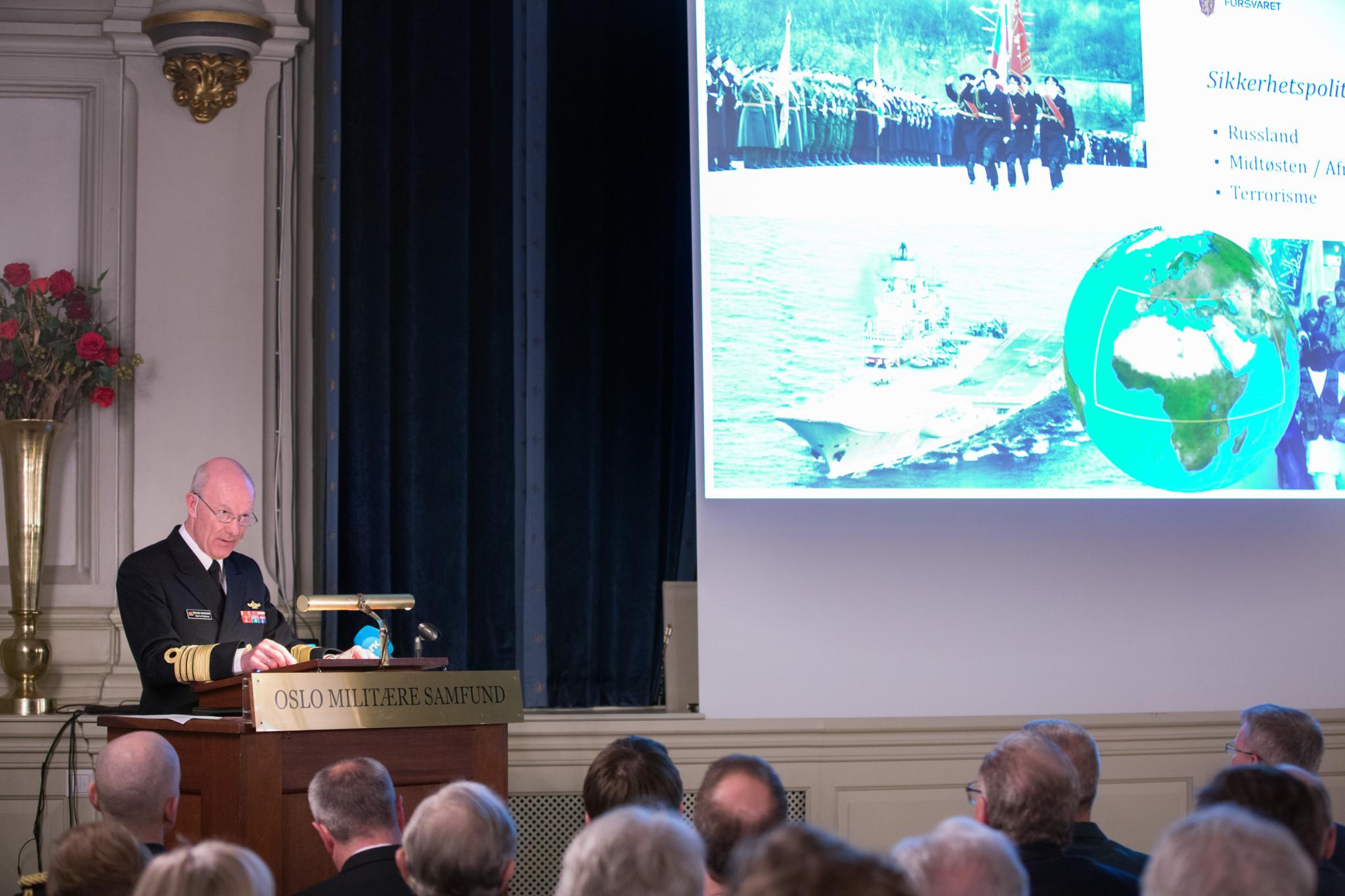 Forsvarssjef Haakon Bruun-Hanssen holdt sitt årlige foredrag i Oslo Militære Samfund (OMS) 30. januar 2017. Foto: FREDRIK NAUMANN/FELIX FEATURES