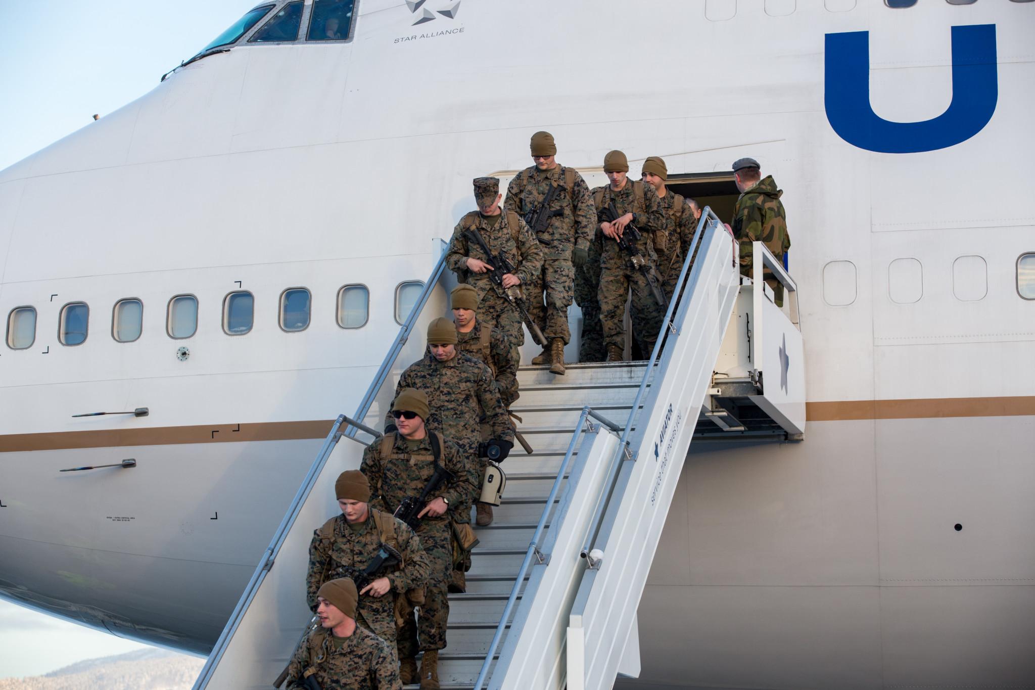 United States Marine Corps ankommer Værnes lufthavn (Trondheim) / United States Marine Corps arriving at Værnes airport (Trondheim, Norway). 16. januar 2017. Foto: TOM-DANIEL S. LAUGERUD/FORSVARET