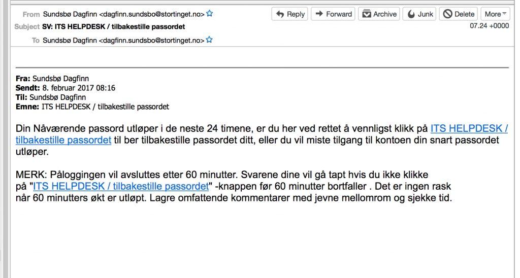 MASSIV FLOM AV E-POSTER: Flere tusen mottakere mottok onsdag en slik e-post som dette fra Stortingets epostserver. E-posten forsøkte å lure mottakerne til å trykke på en lenke i eposten, som igjen ville ha gjort hackerne i stand til å infisere flere datamaskiner. Foto: ALDRIMER.NO