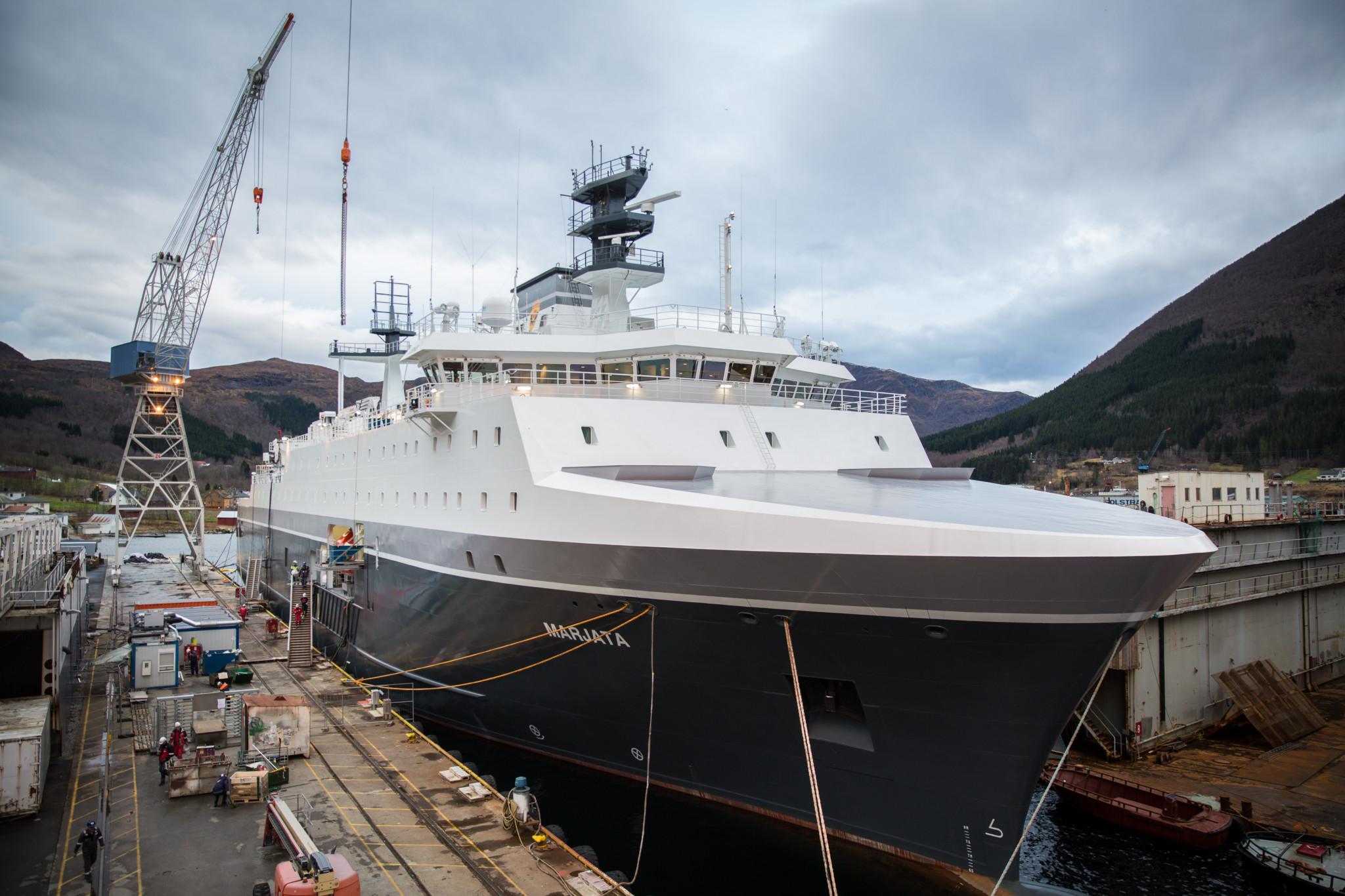 """Dåpen skjer ved verftet Vard Langsten i Tomrefjorden i Romsdal, og det er statsminister Erna Solberg som skal døpe nye «Marjata». Dåpen er en ny milepæl for Etterretningstjenestens nye overvåkningsfartøy. / Norway´s new surveillance vessel """"Marjata"""""""