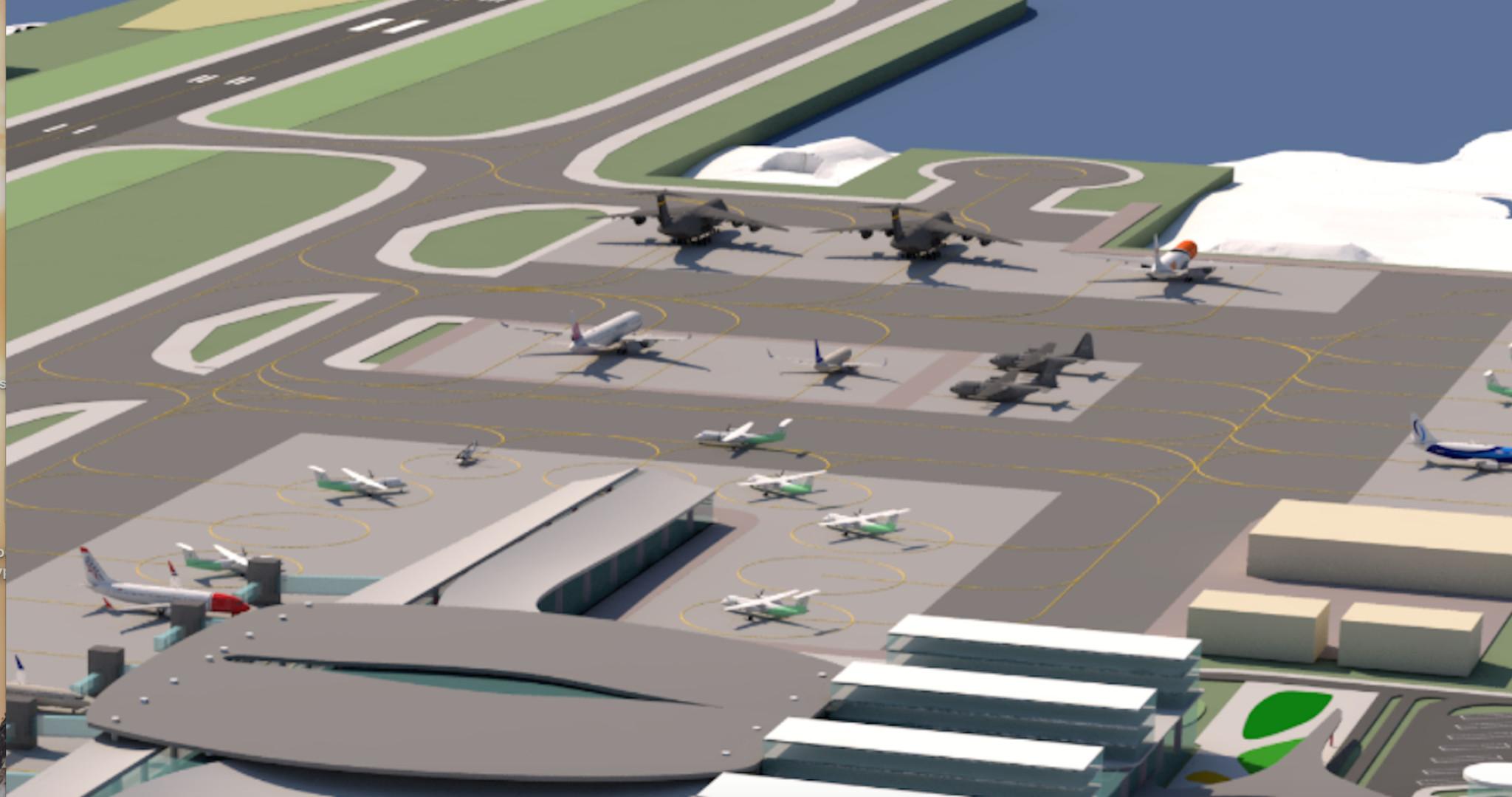 BLIR LUFTFORSVARET I BODØ LIKEVEL? Nye Bodø lufthavn skulle bli en sivil flyplass. Men detaljskisser Avinor har gått ut med, viser at Luftforsvaret etter alt å dømme planlegger en betydelig tilstedeværelse her. På bildet sees fire militære lastefly. Foto: SKJERMDUMP FRA AVINOR.NO
